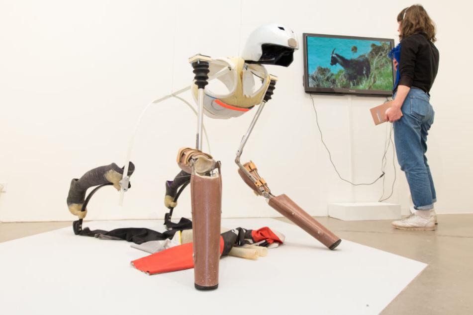 Mit der Vierbeiner-Prothese wollte der Künstler sich wie eine Ziege fühlen.