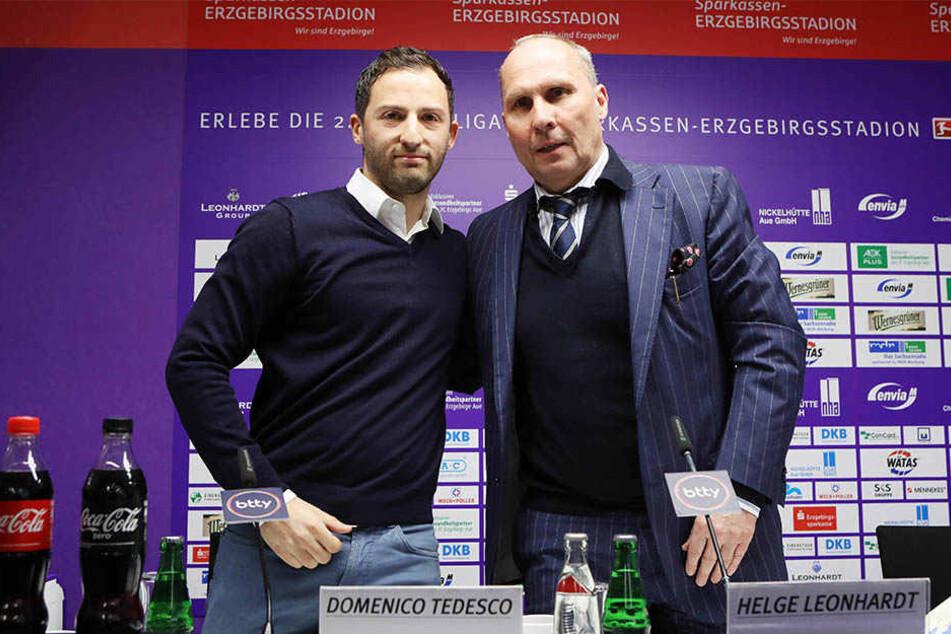 FCE-Präsident Helge Leonhardt (r.) begrüßt den neuen Trainer Domenico Tedesco. Der hat bis zum 30. Juni2018 unterschrieben.