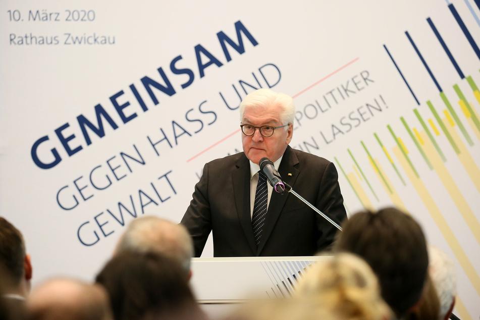Bundespraesident Frank Walter Steinmeier (64, SPD) war zu Gast einer Podiumsdiskussion im Buergersaal vom Rathaus Zwickau