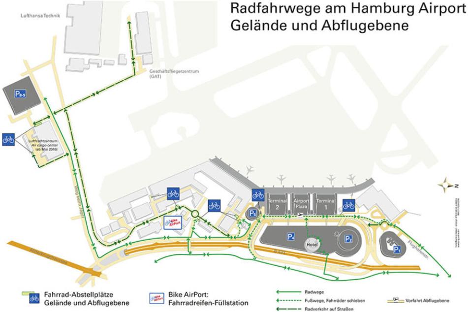 So sieht der Geländeplan für Radfahrer am Flughafen Hamburg aus.