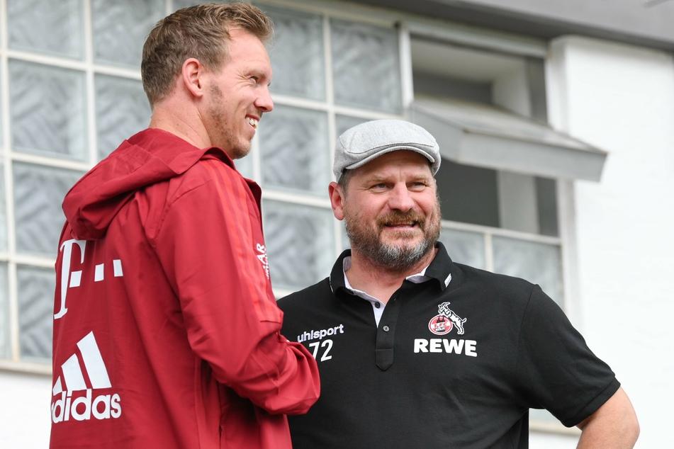 Bayerns Trainer Julian Nagelsmann (33) und Kölns Trainer Steffen Baumgart (49) unterhielten sich vor dem Spiel.