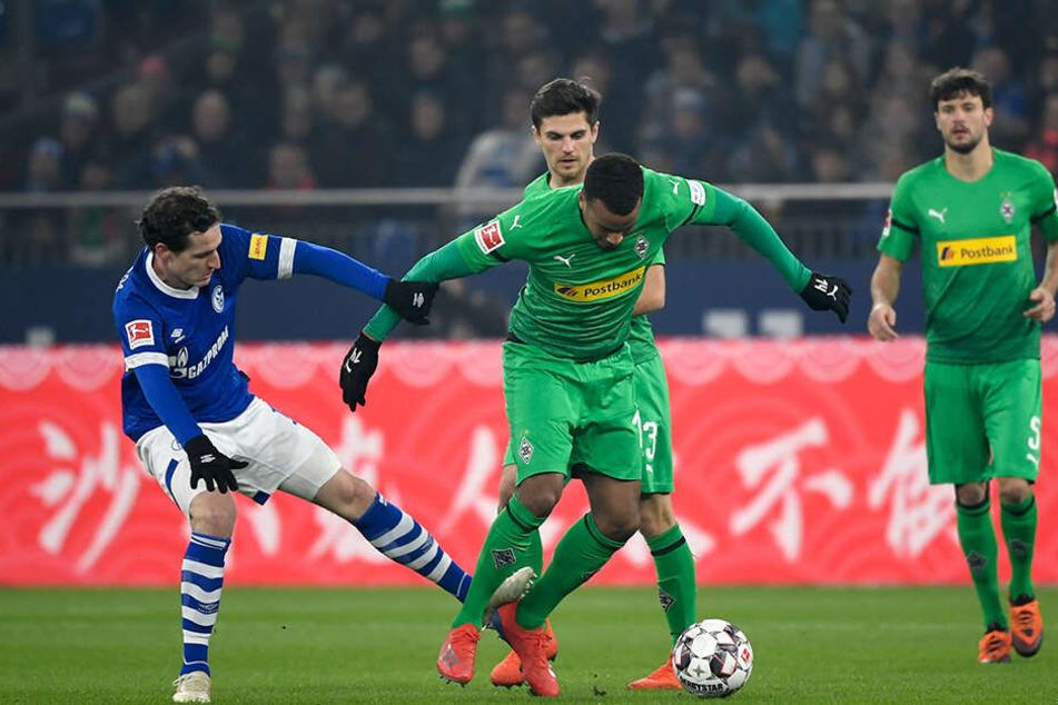 Viel Kampf: Schalkes Sebastian Rudy (l.) und Gladbachs Alassane Plea im Duell. Jonas Hofmann (Mitte-hinten) und Tobias Strobl (r.) schauen zu.