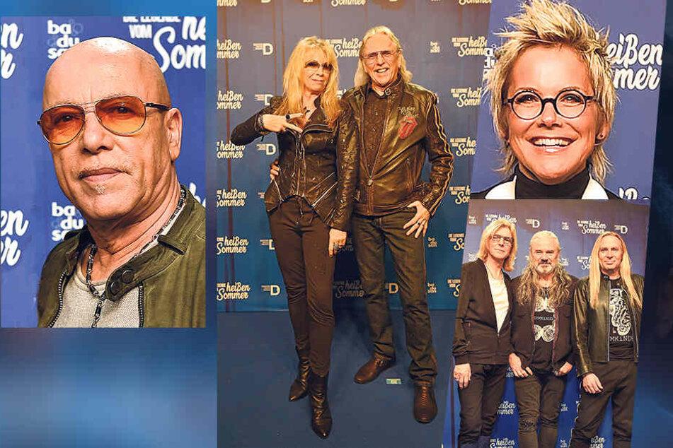 """(v. li.) City""""-Frontmann Tony Krahl, Petra Zieger (59) mit Mann Peter Taudte (68), Sängerin Inka Bause (50) und die Silly-Musiker Ritchie Barton (65), Hans-Jürgen Reznicek (65) und Uwe Hassbecker (58)."""