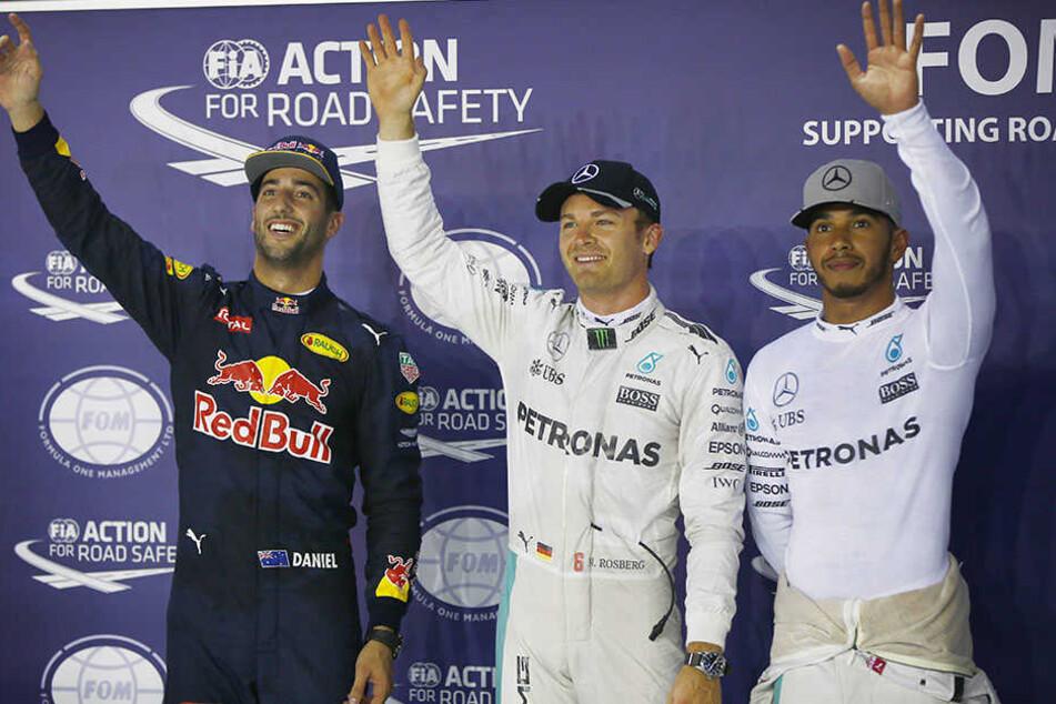 Die Platzierten auf dem Siegerpodest: Daniel Ricciardo, Nico Rossberg und Lewis Hamilton.