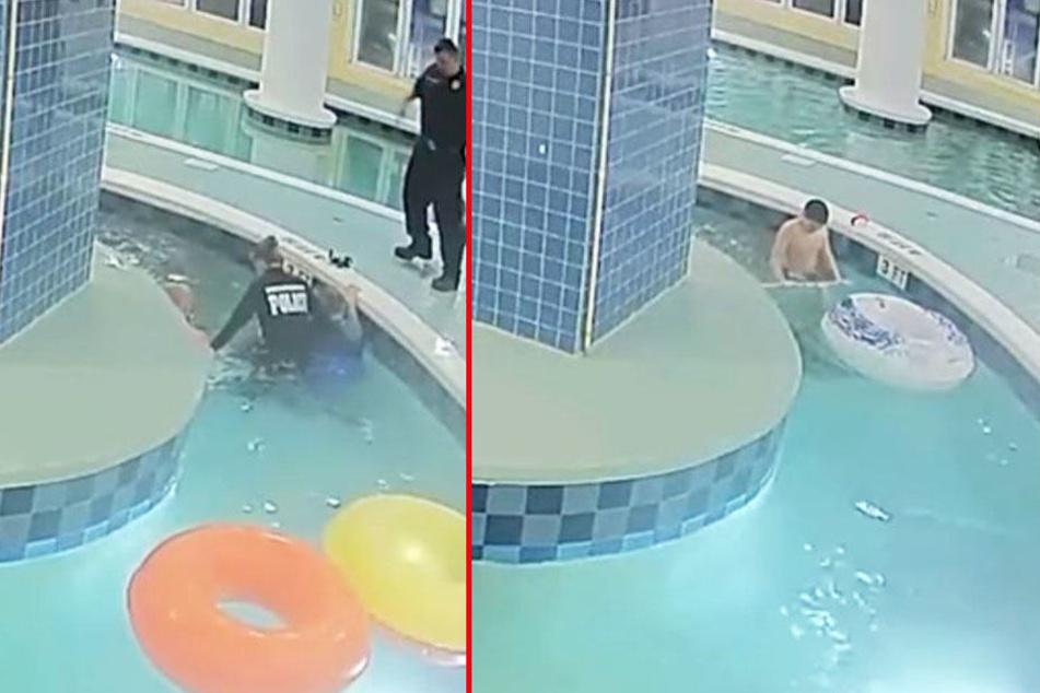 Minutenlang ohne Luft: Junge wird in Pool unter Wasser gezogen!