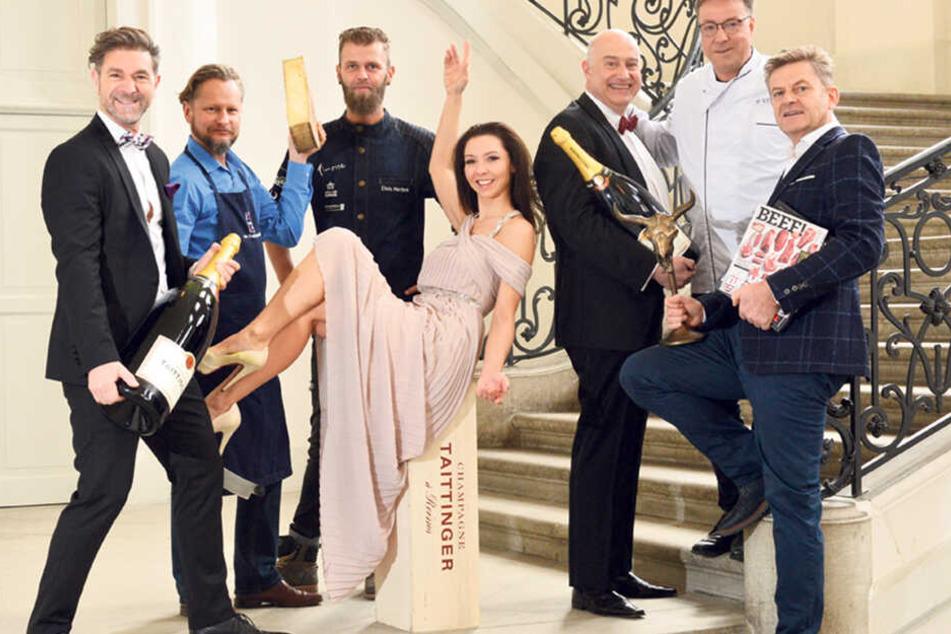 Freuen sich auf eine prickelnde Party: Clemens Lutz, Uwe Sochor, Elvis Herbek, Annegret Föllner, Hartmut Richter, Mario Pattis und Steffen Zuber (v.l.).