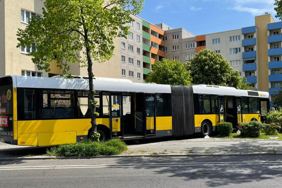 Der Bus kam auf erst auf einer Grünanlage vor einem Wohnhaus zum Stehen.