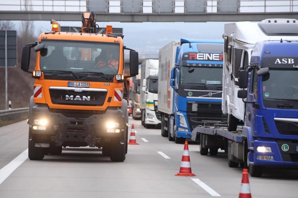 In Richtung Chemnitz staut es sich.