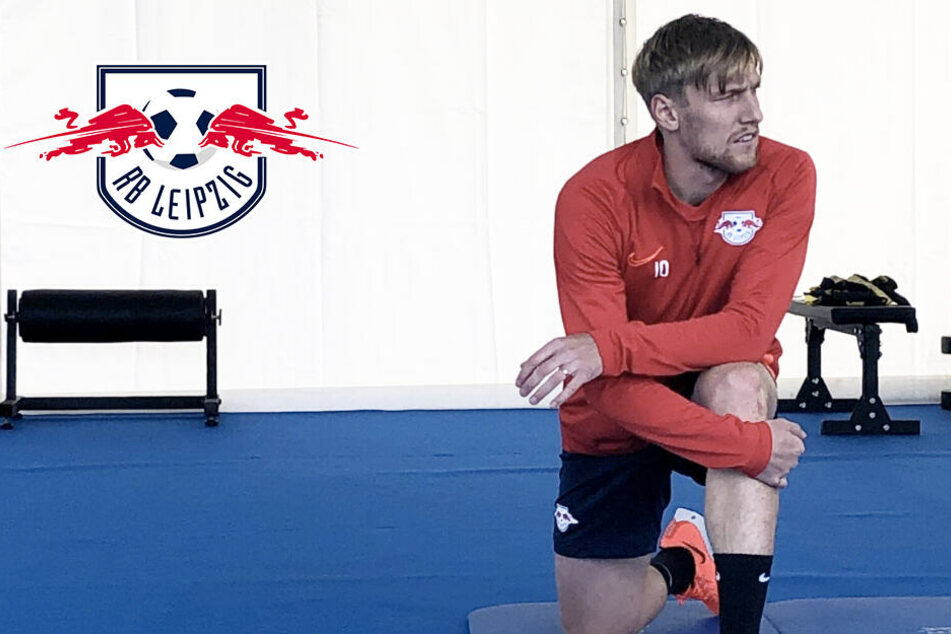 RB Leipzigs Emil Forsberg trainiert abgeschottet im Zelt