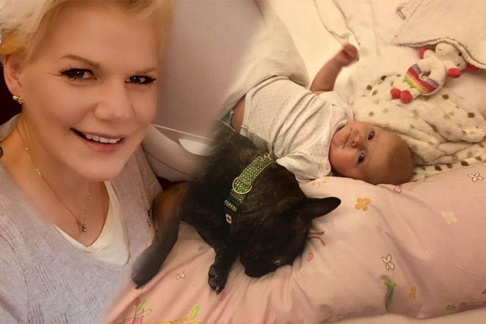 Sollte man sein Haustier im Babybettchen schlafen lassen? Melanie Müllers Fans sind sich einig: JA!