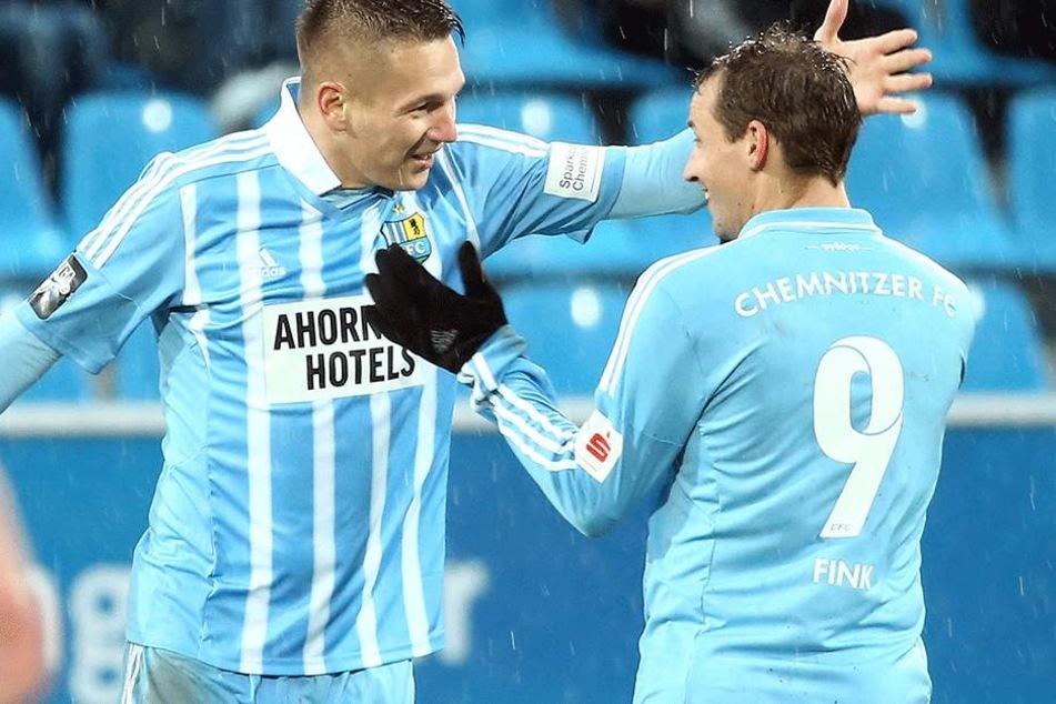 Daniel Frahn und Anton Fink wollen gegen Münster wieder gemeinsam jubeln.