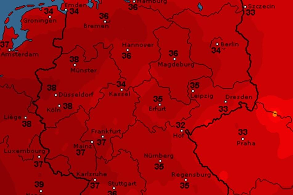 So sieht die Wetterkarte für Donnerstag laut WetterOnline aus. Der DWD prognostiziert Höchsttemperaturen.
