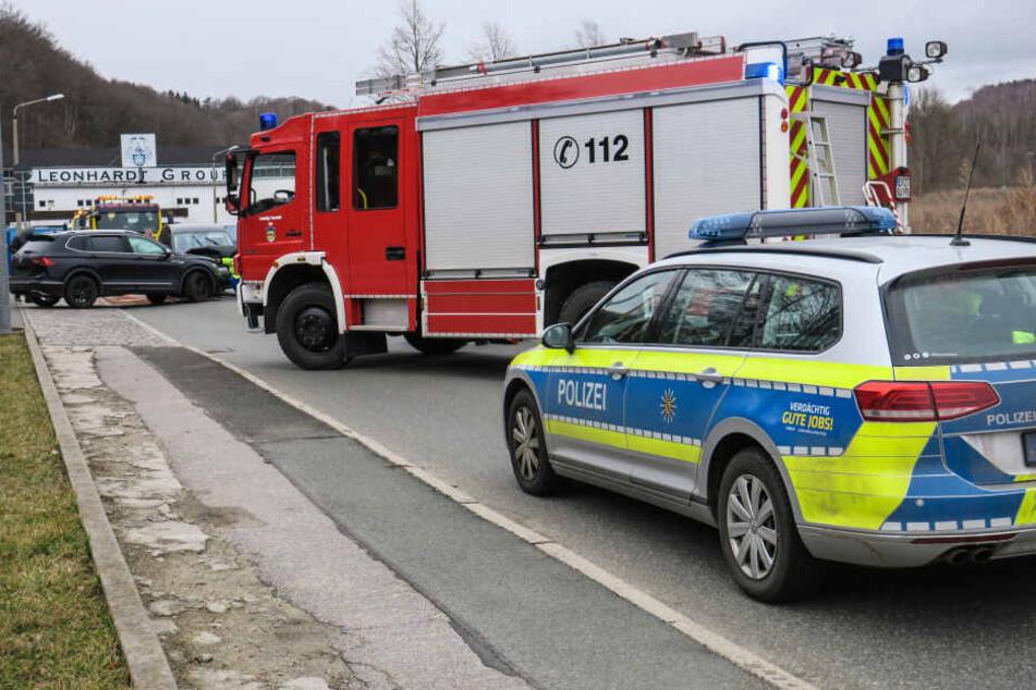 Die Erdmann-Kircheis-Straße zwischen Aue und Alberoda war für mindestens eine Stunde voll gesperrt.