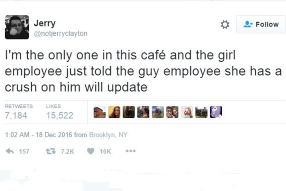 So ging alles los: Mit diesem Tweet startete Jerry seinen Liebes-Liveticker.
