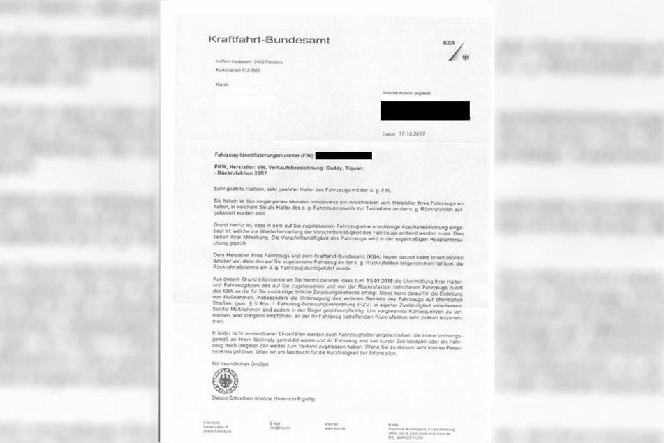 So sieht ein Schreiben aus, das das Kraftfahrt-Bundesamt an betroffene Personen versendete.