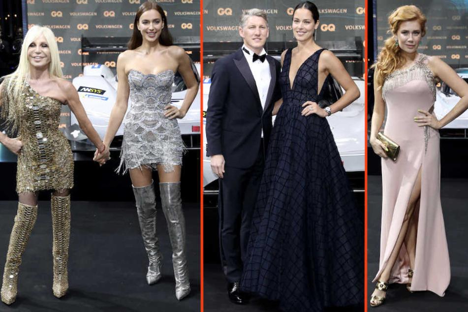 Illustre Runde: Donatella Versace mit Irina Shayk, Bastian Schweinsteiger mit Ana Ivanovic und Palina Rojinski.