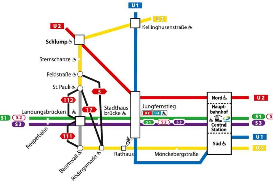Ausweichen auf Busse: Ein Überblick über die Umwege, die die Fahrgäste während der nötigen Sanierung des U-Bahnhofs Landungsbrücken in Kauf nehmen müssen.