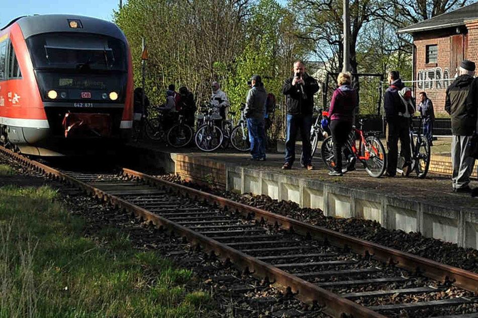 Die Heide-Bahn ist zurück. Am Karfreitag ließ sich nach Jahren erstmals wieder ein Personenzug am Bad Dübener Bahnhof blicken.