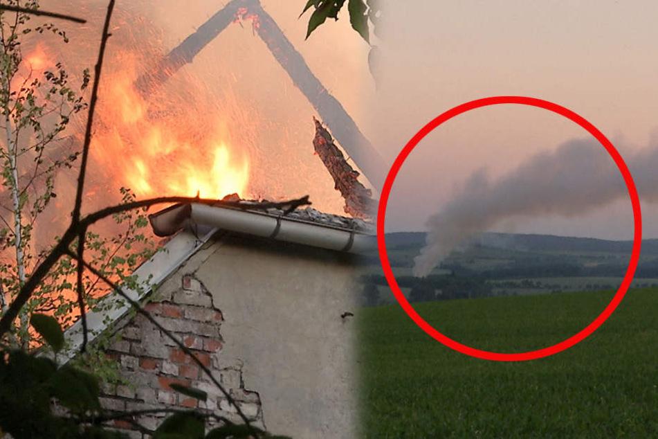 Riesige Rauchsäule kilometerweit bis Dresden zu sehen: Freigut abgebrannt
