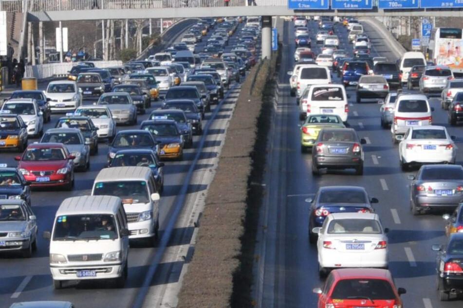 Der Straßenverkehr in China, wie hier in Peking, hat sowieso schon seine eigenen Gesetze. Doch dieses Verhalten des Hunde-Besitzers war dann doch etwas zu viel.