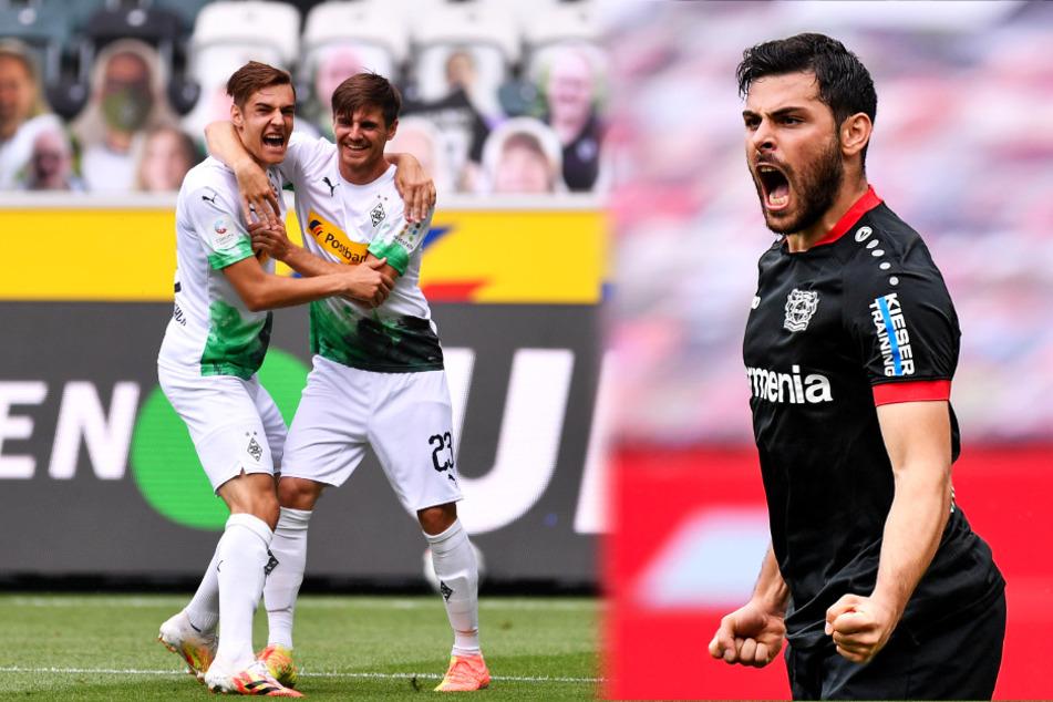 """Borussia Mönchengladbach (l.) und Bayer 04 Leverkusen führen beide mit 1:0. Aktuell hätten die """"Fohlen"""" die Champions League sicher, die Werkself müsste mit der Europa League vorlieb nehmen."""