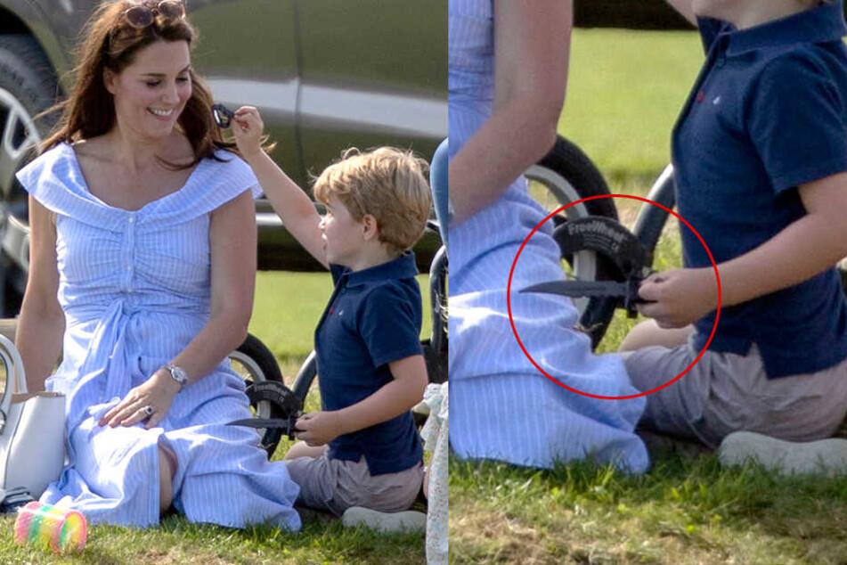 Neben einer Pistole spielte Prinz George auch mit einem Spielzeugmesser.