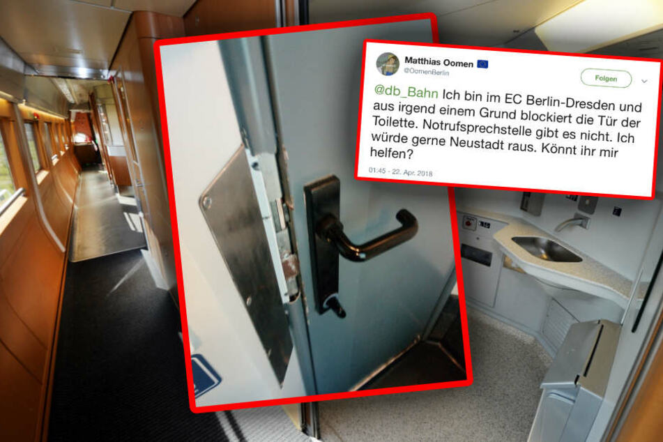Der Verursacher allen Übels: die Zug-Toilette im EC (l). Und der Hilferuf über Twitter von Oomen.