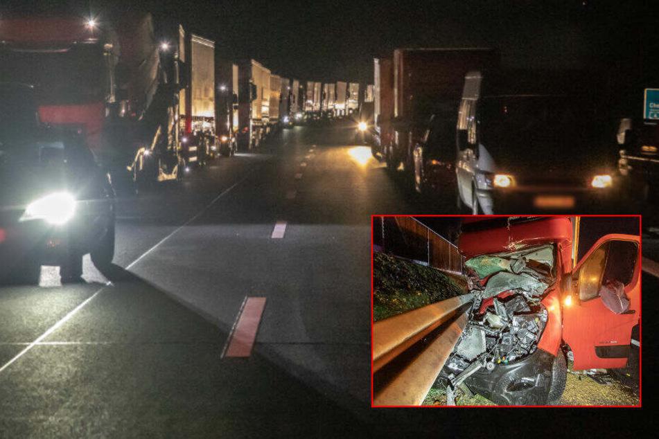 Vollsperrung und Mega-Stau: Heftiger Unfall auf A72 mit Schwerverletzten