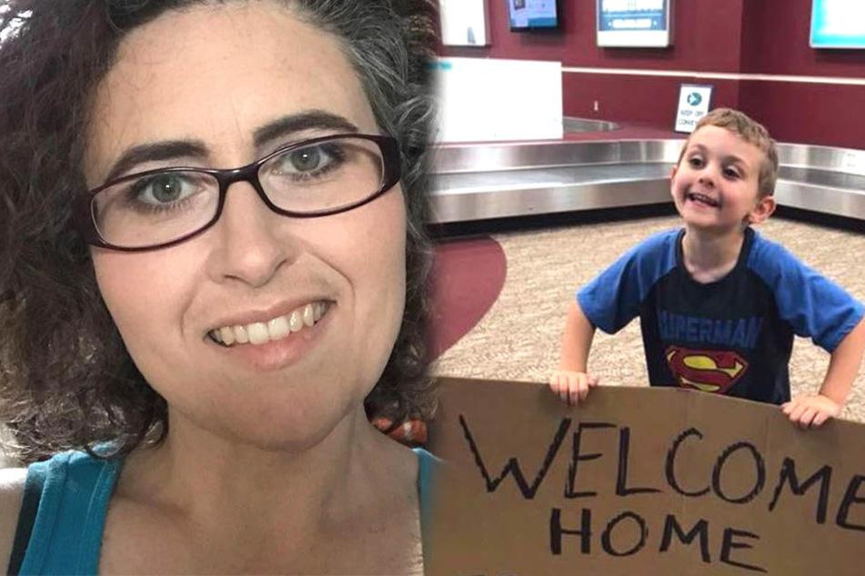 Mutter wird am Flughafen empfangen und stirbt fast vor Lachen