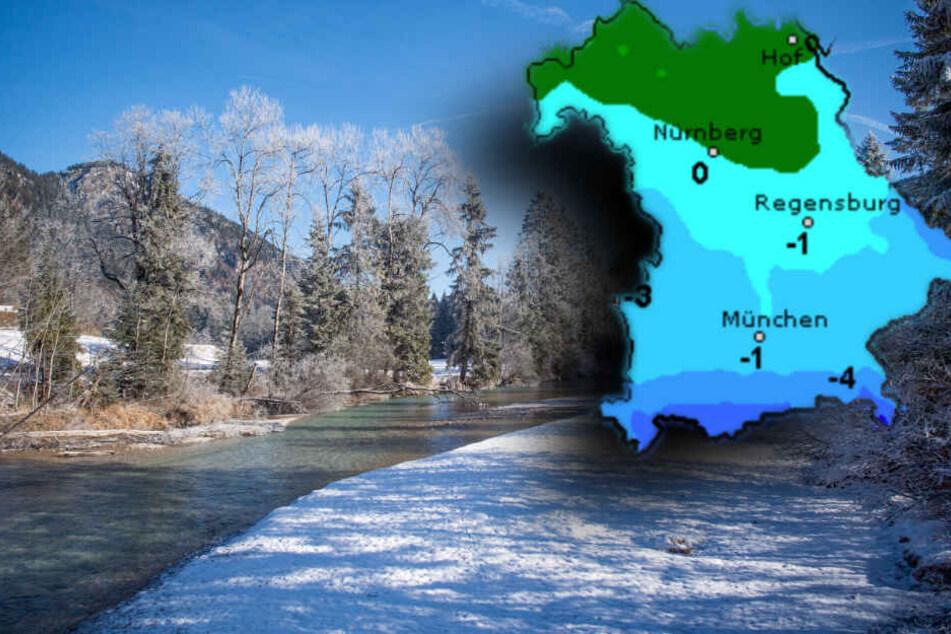 In der Nacht wird es zwar kalt, Schnee lässt aber in weiten Teilen Bayerns auf sich warten. (Bildmontage)