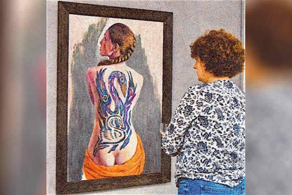 """Diebe stahlen im Juli 2016 unter anderem dieses Gemälde (""""Rückenakt"""") der Künstlerin Gudrun Brüne."""