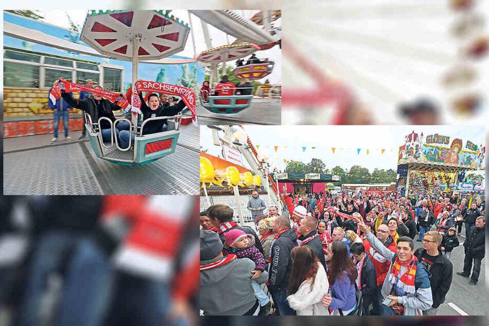 Juhu! Die Zwickauer Fans durften zwei Runden mit dem Riesenrad drehen.
