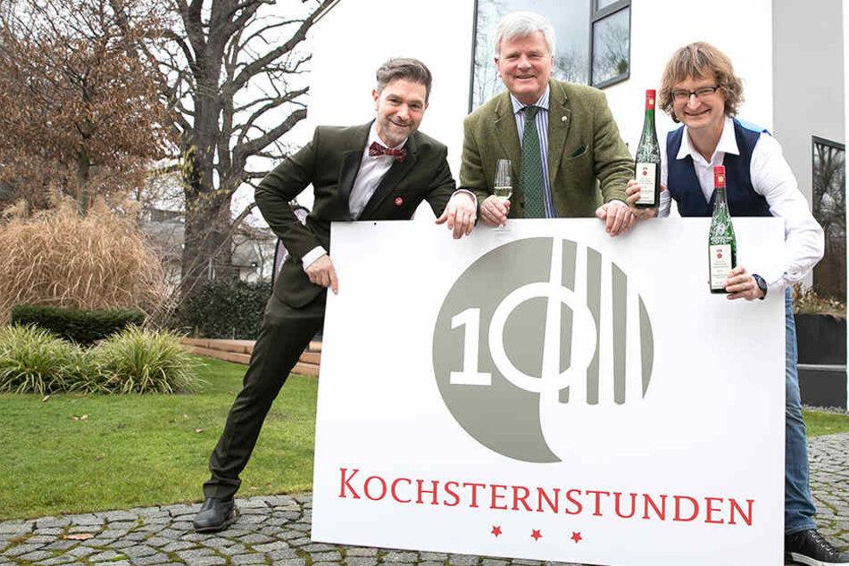 """Clemens Lutz (47), Schirmherr Georg Prinz zur Lippe (60) und Zeichner Kay """"Leo"""" Leonhardt (52)."""