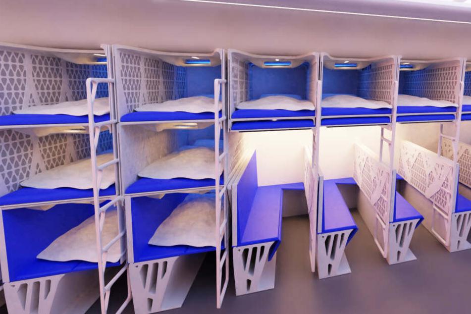 """Bei """"TU Delft"""" wurde an Sitzbänken gearbeitet, die zu Betten umfunktioniert werden können."""