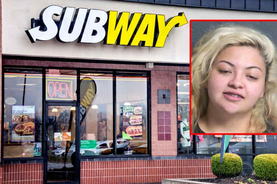 Junge Frau überfällt Subway, um Kollegen eine Lektion zu erteilen