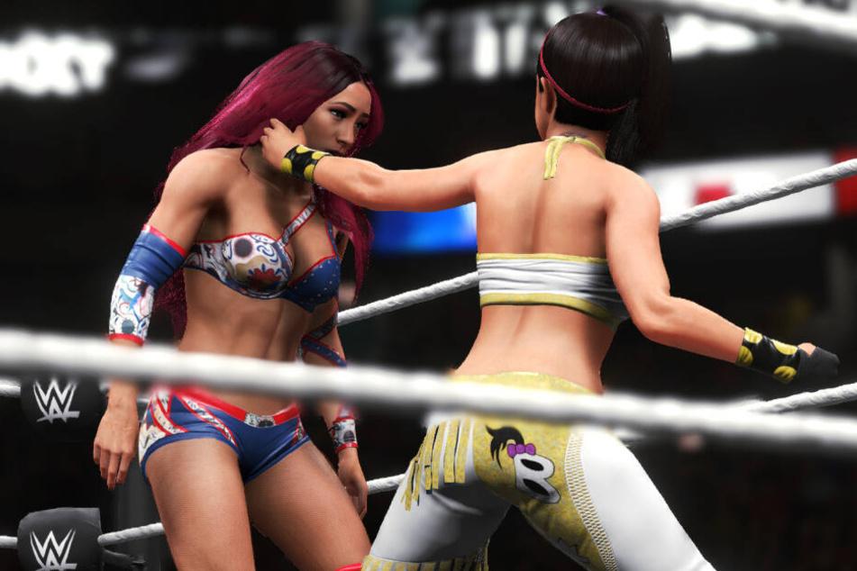 Sasha Banks gegen Bayley - vor allem die weiblichen Charaktere rückten mehr in den Mittelpunkt - die Grafik hier hat jedoch wenig mit der Spielrealität zu tun.