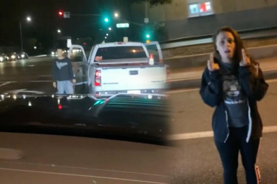 Raqchel (29, r.) brüllt Itzel an. Ihr Freund Gregory (29) demoliert das Auto mit einer Schaufel.