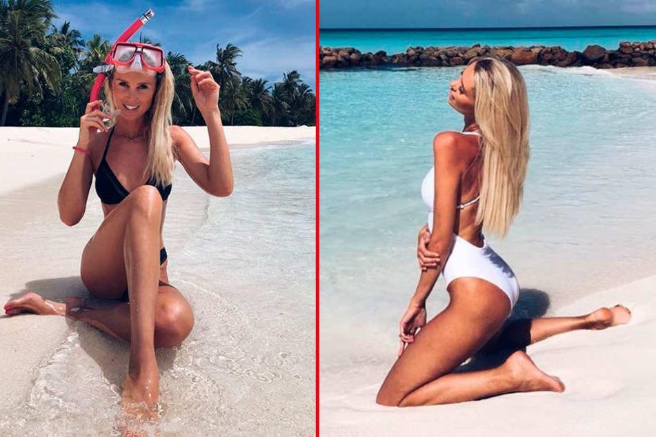 Model Katja Kühne (33) - Traumfrau am Traumstrand auf den Malediven.
