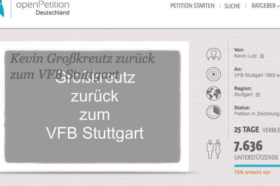 Die Petition im Netz.