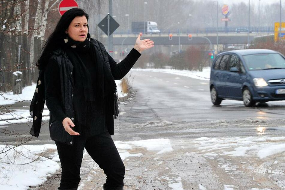 Das wohl sinnloseste Stück Südring: Nach wenigen hundert Metern endet die vierspurige Straße. Den Weiterbau fordert Ines Saborowski (51, CDU).