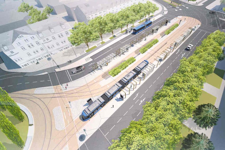 Der geplante Romanplatz von oben: Ein drittes Gleis soll helfen mehr Fahrgäste ans Ziel zu bringen.