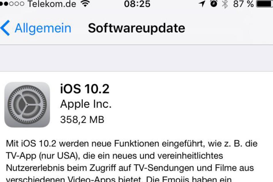 So sieht das Update aus.