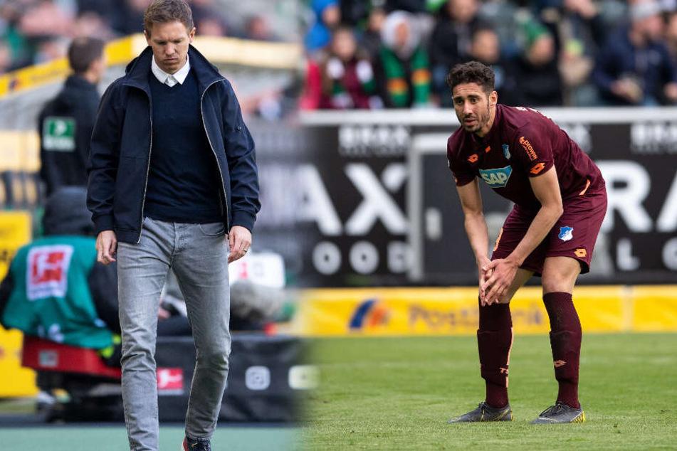 Bedröppelte Mienen nach den verschenkten Punkten gegen Borussia Mönchengladbach: TSG-Coach Julian Nagelsmann (links im Bild) und Stürmer Ishak Belfodil. (Fotomontage)