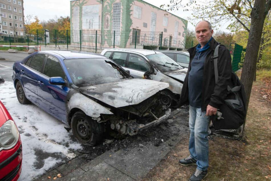 Auch der Gorbitzer Matthias Buchs (61) sorgt sich wegen der Autozündelei.