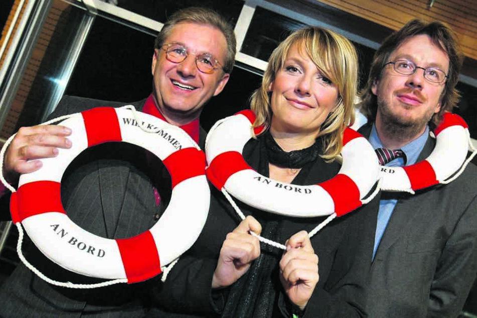 """Vor 16 Jahren moderierten Kachelmann, Kim Fisher und Jan Hofer (li.) das """"Riverboat""""."""