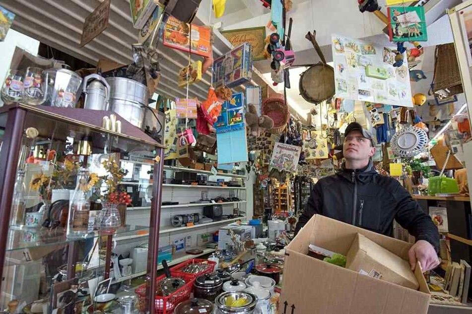 In dem Laden in der Paul-Gruner-Straße mit Haushaltswaren und Volkskunst läuft derzeit der Ausverkauf. Ab Februar ist das Geschäft zu.
