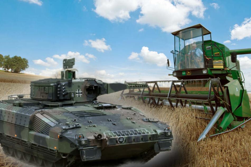 """Landwirt """"übersieht"""" Panzer und fährt mit Mähdrescher dagegen"""