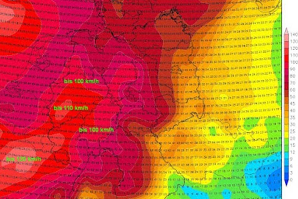 Die Karte zeigt die Windgeschwindigkeiten für Deutschland am kommenden Donnerstag.