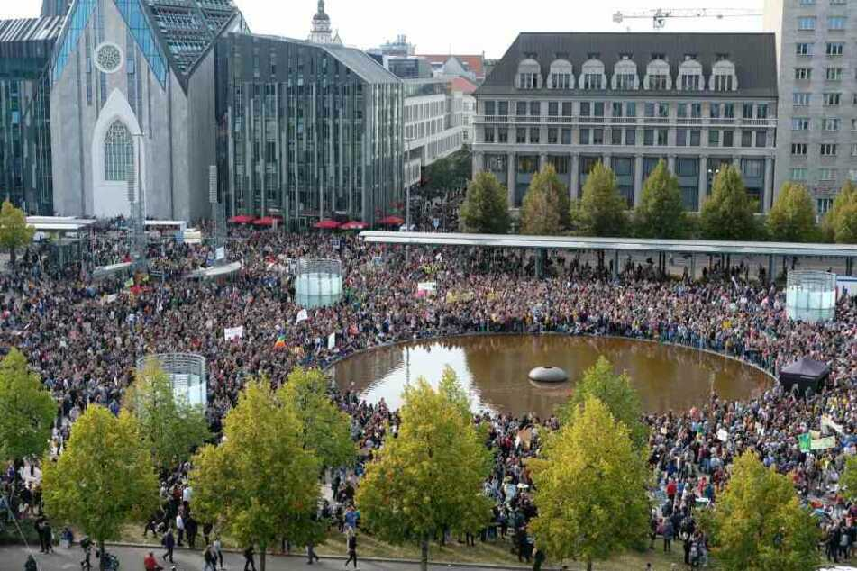 Am Augustusplatz wird wieder demonstriert - wie Ende September zum großen Klimastreik.