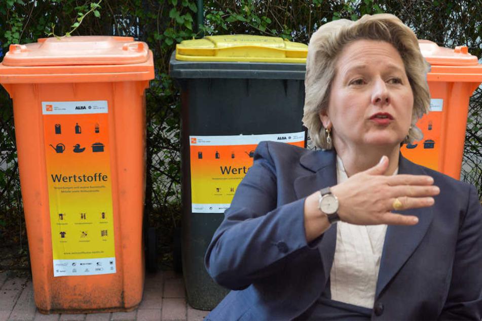 Bundesumweltministerin Svenja Schulze (49, SPD) will keine flächendeckende Einführung der Wertstofftonne. (Bildmontage)